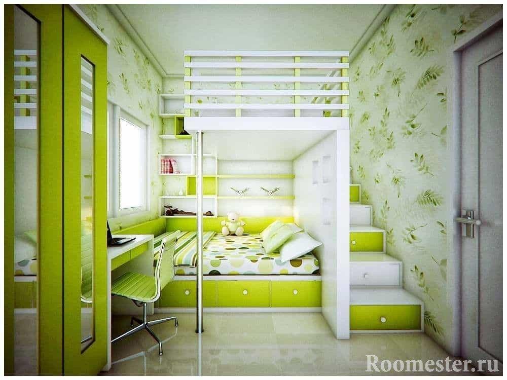 Спальное место для родителей с ребенком в однокомнатной квартире