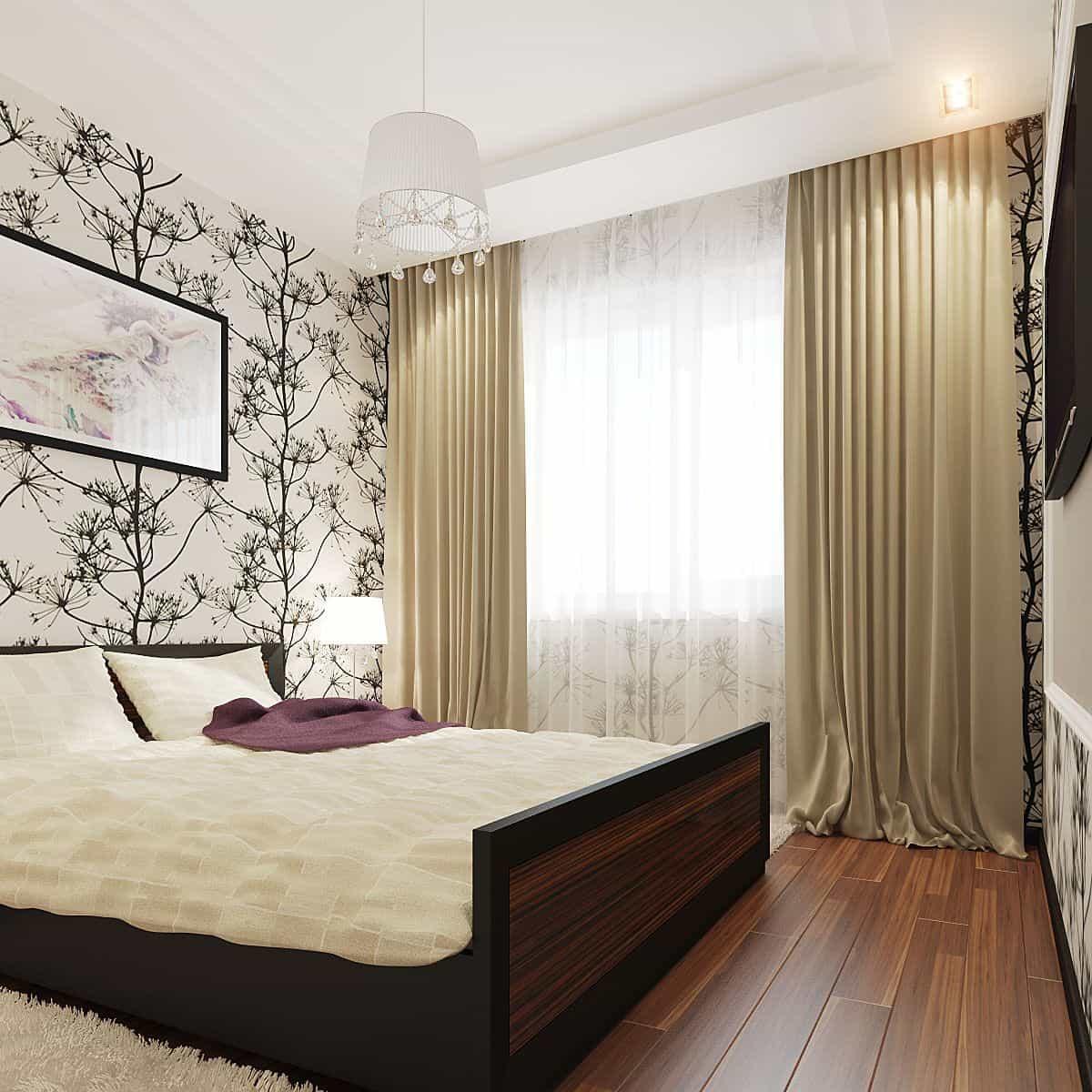 Спальная комната с деревянным полом