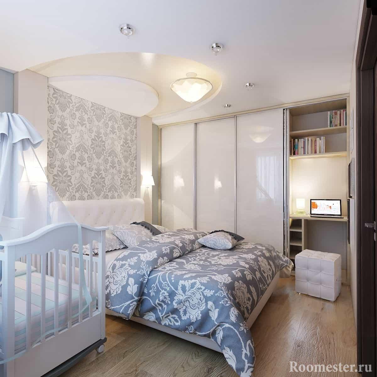 Спальня 4 на 4 метра с детской кроваткой