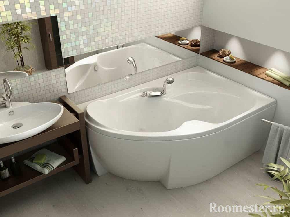 Угловая ванная с раковиной
