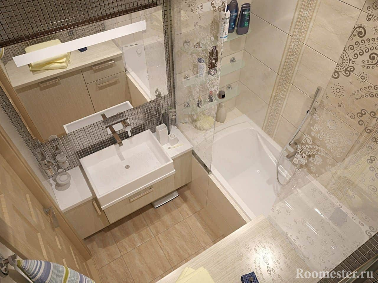 Дизайн ванной комнаты в панельном доме в бежевом цвете