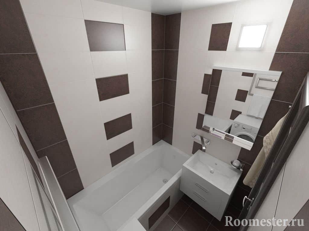 Компактное расположение сантехники в ванной комнате в панельном доме