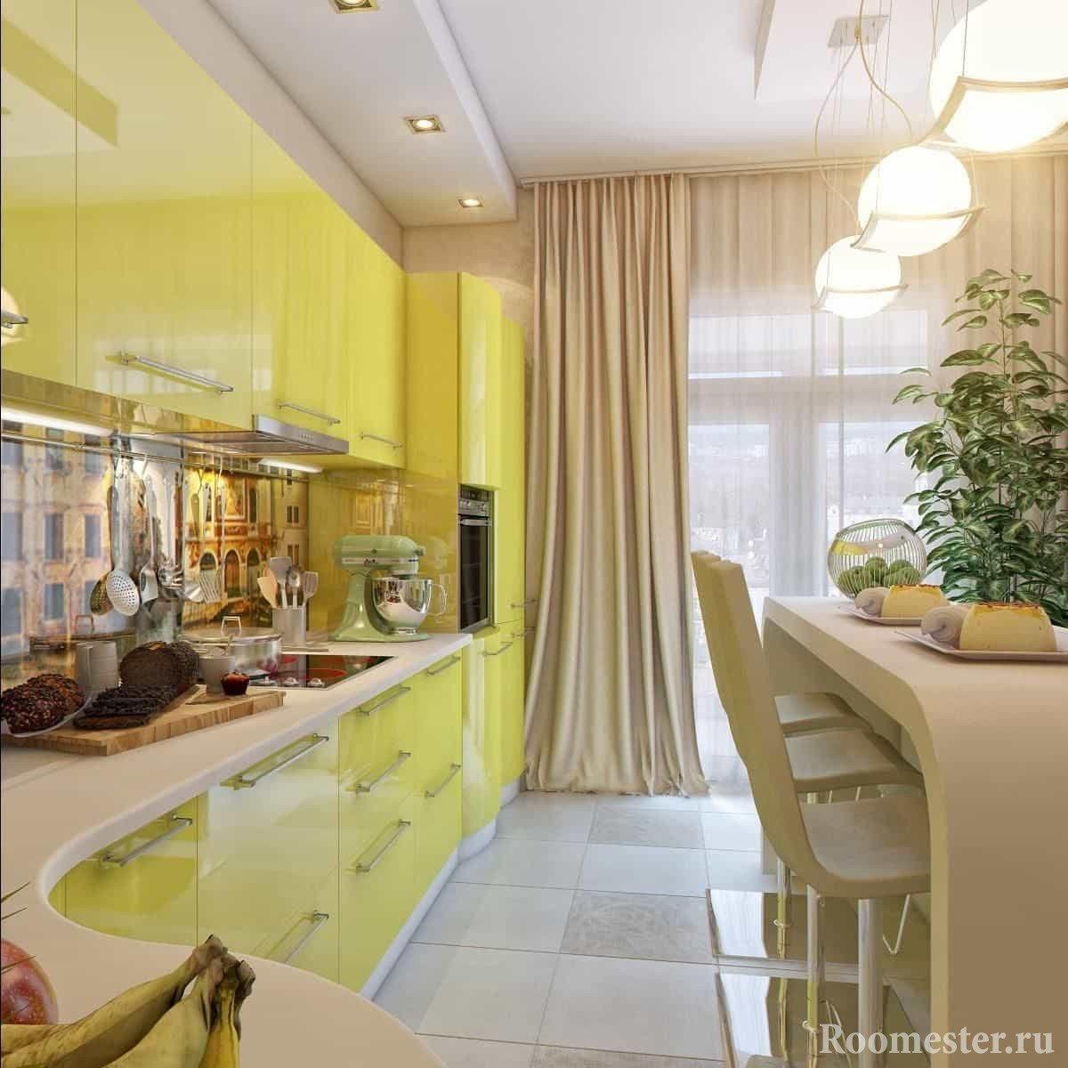 Угловая вытянутая желтая кухня с оригинальным столом