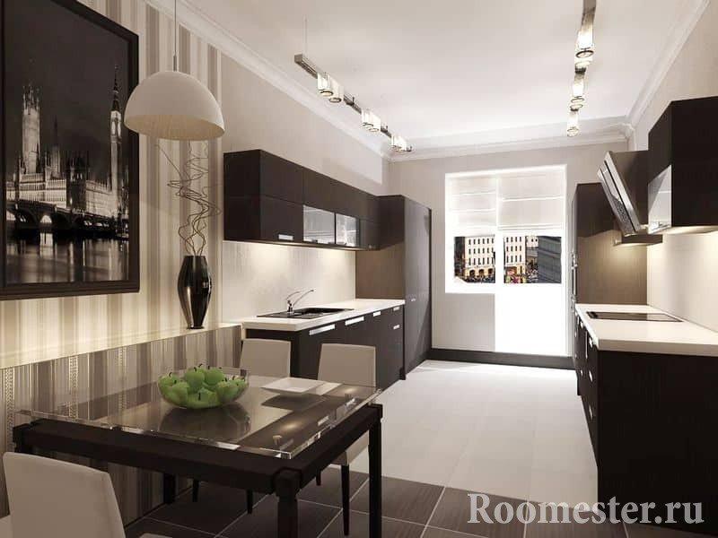 Вытянутая кухня со столовой