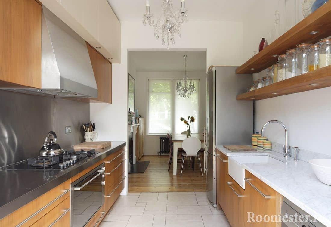 Дизайн кухни-гостиной вытянутой формы