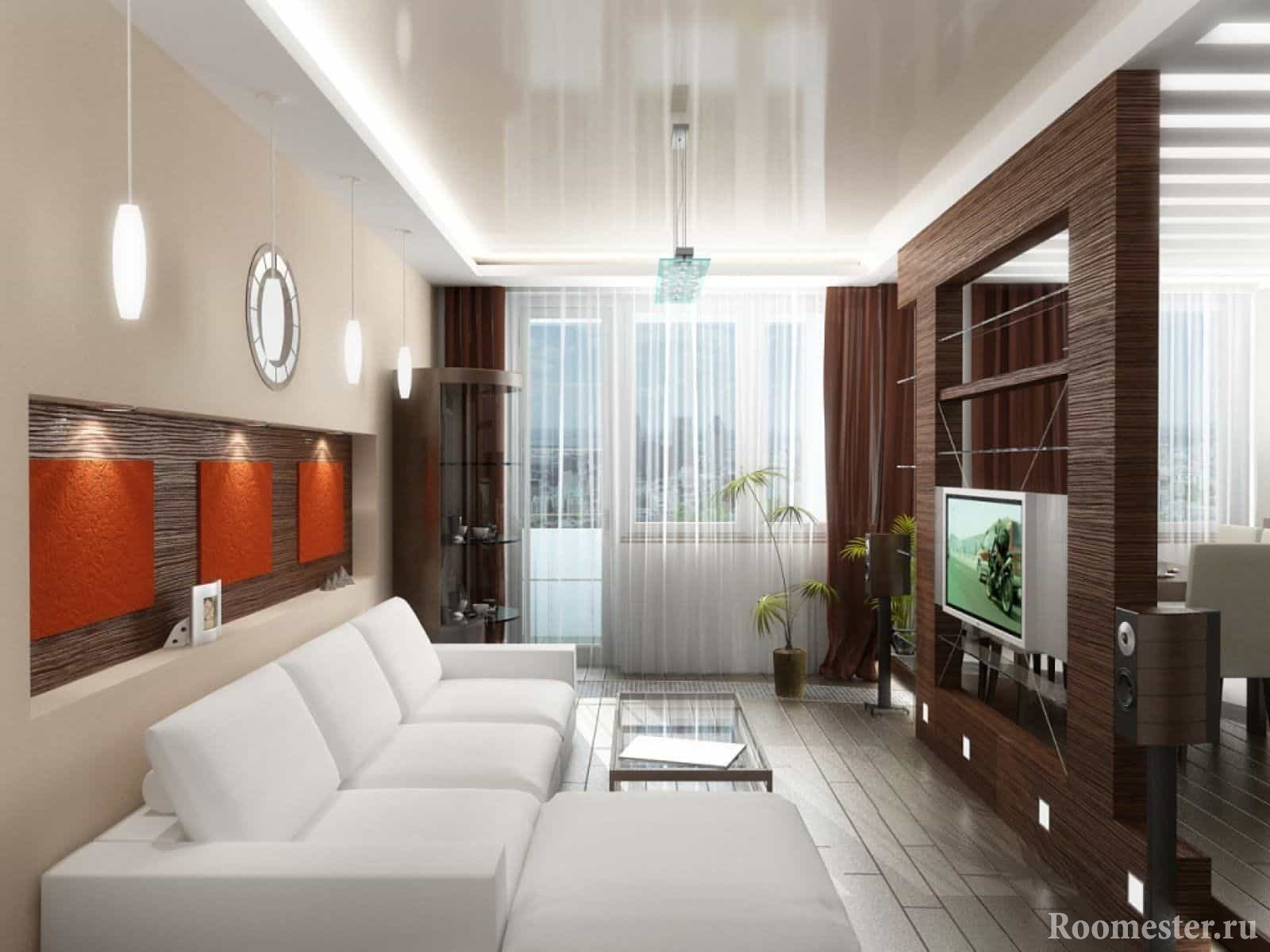 Узкая гостиная комната с окном