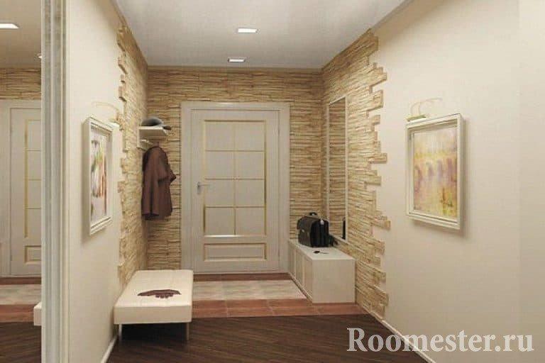 Декоративный кирпич в дизайне фото коридора