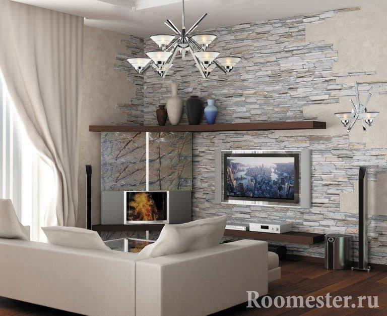 Интерьер комнаты с камнем фото