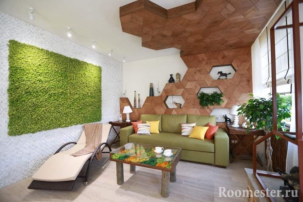 Дизайн интерьера в эко стиле с сочетанием природных материалов
