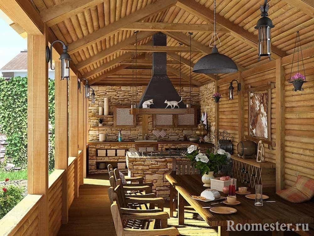 терраса с летней кухней в стиле кантри