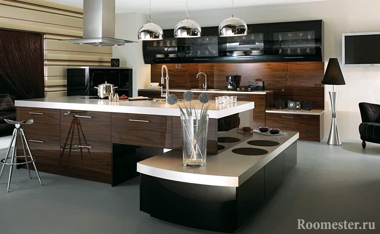 Фасады кухни под дерево в дизайне интерьера кухни