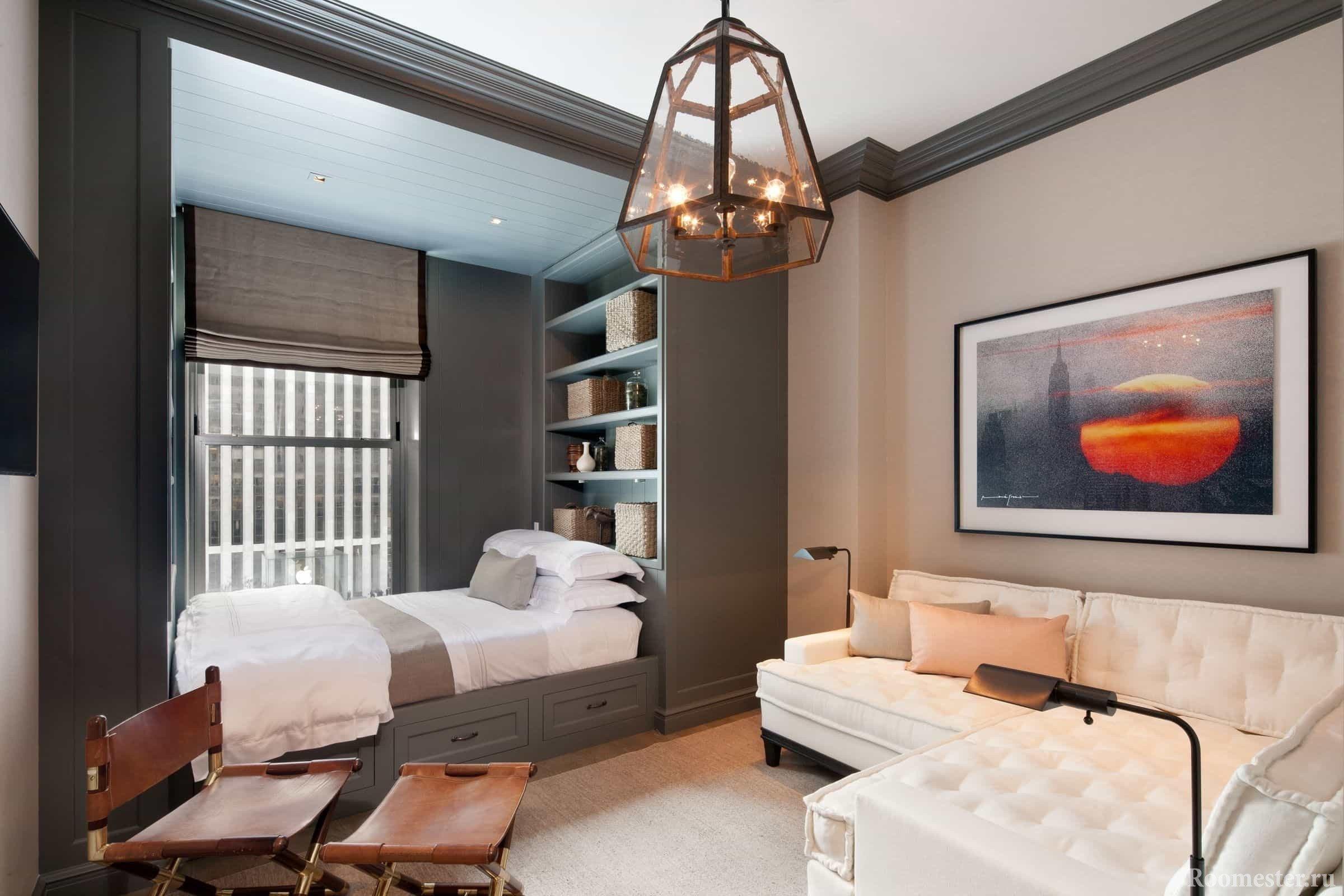 Отделение спальни подиумом и отделкой от гостиной в одной комнате