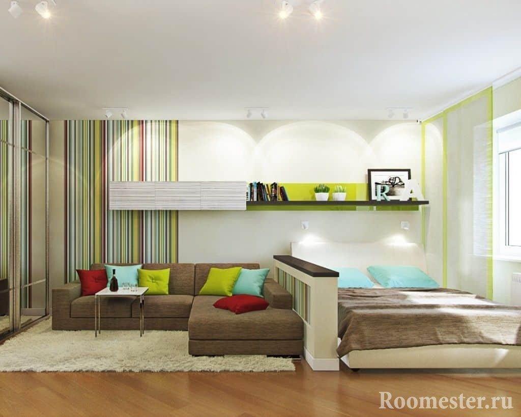 Зонирование гостиной и спальни с помощью разных обоев
