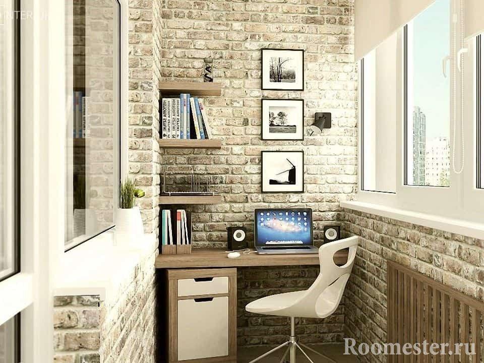 Интерьер кабинета на балконе в стиле гранж