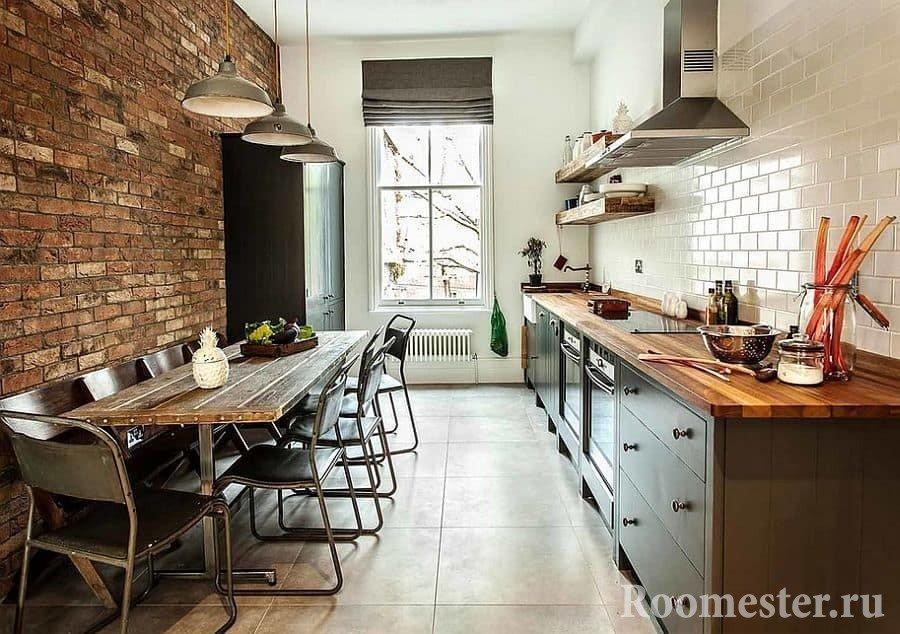 Длинная кухня в стиле гранж