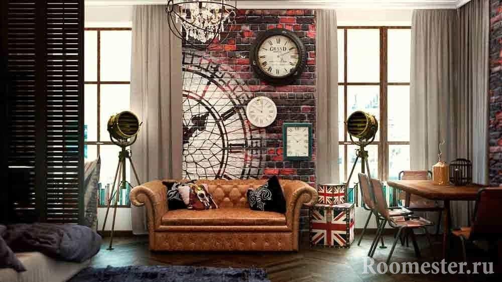 Гостиная в стиле гранж с кожаным диваном и необычными светильниками