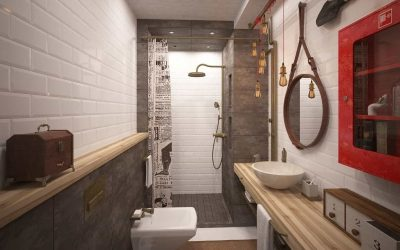 Дизайн ванной в стиле лофт — фото интерьера