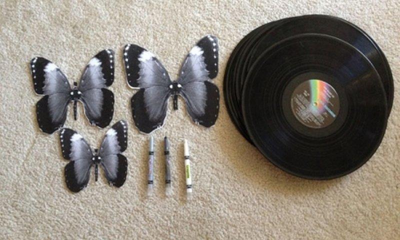 Бабочки своими руками из пластинок 13