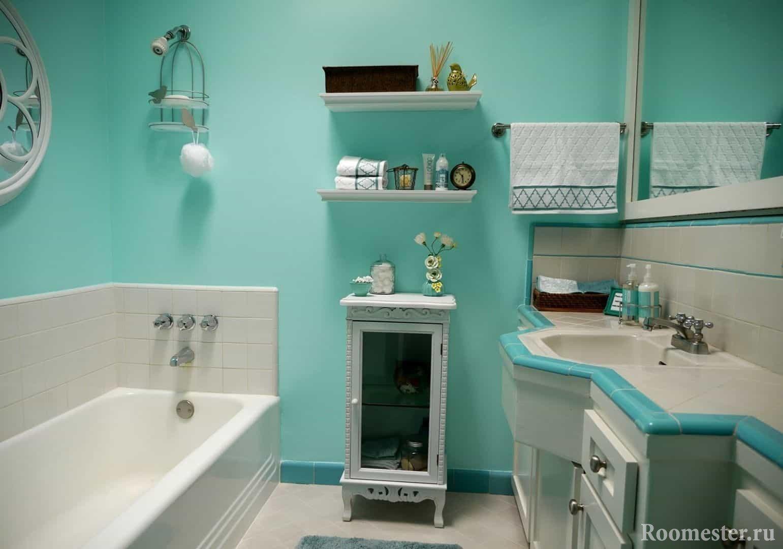 Бирюзоывй цвет в интерьере ванной