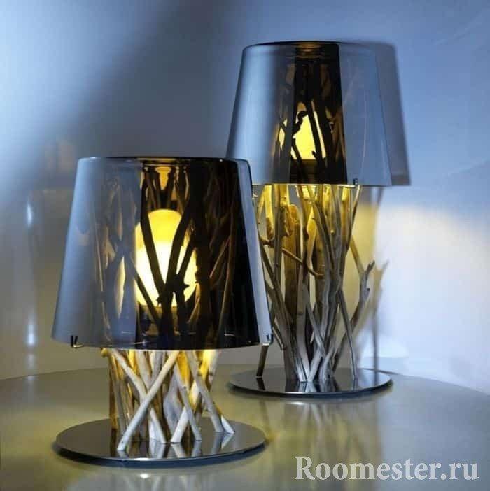Декор светильников лозой