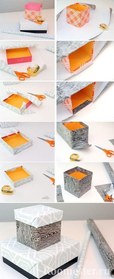 Как обклеить коробочку бумагой