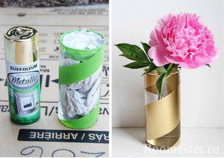 Декор вазы спрей краской