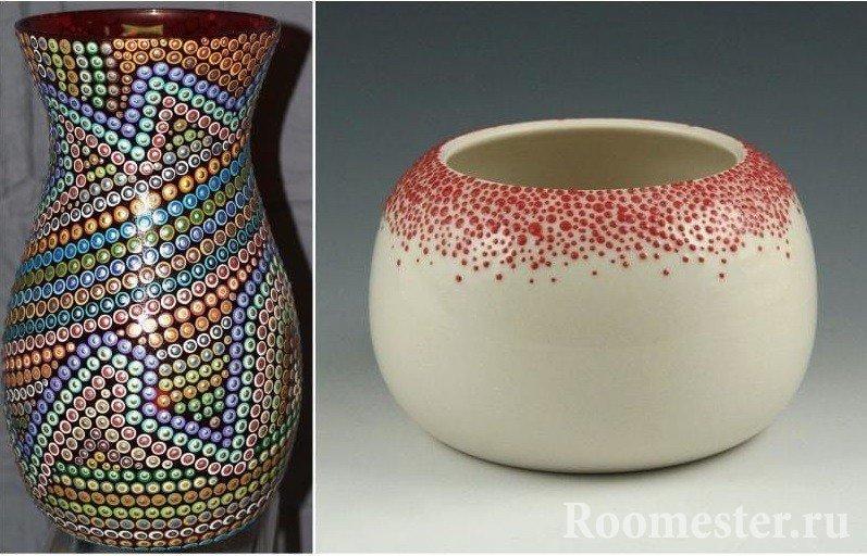Точечный рисунок на вазе