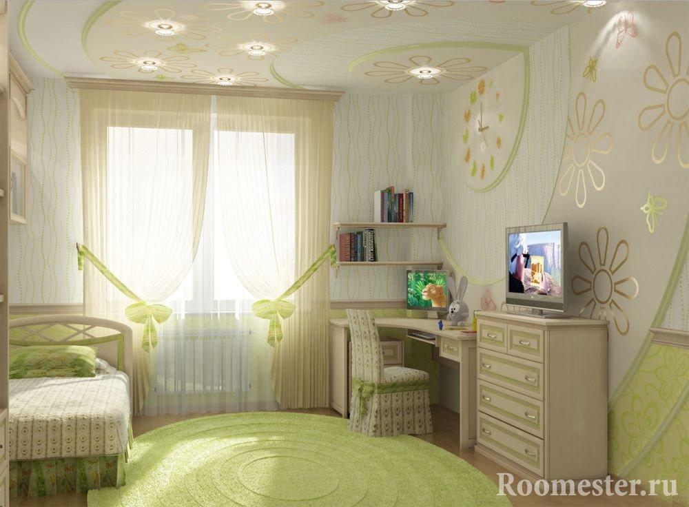 Комната для девочки с оригинальной подсветкой