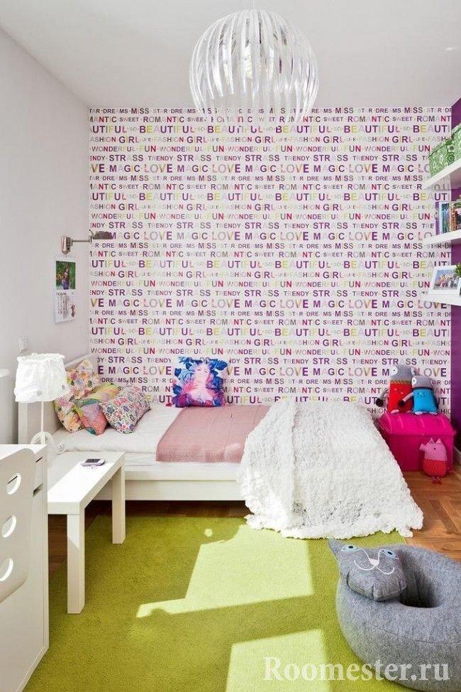 Цветные обои в спальне девочки