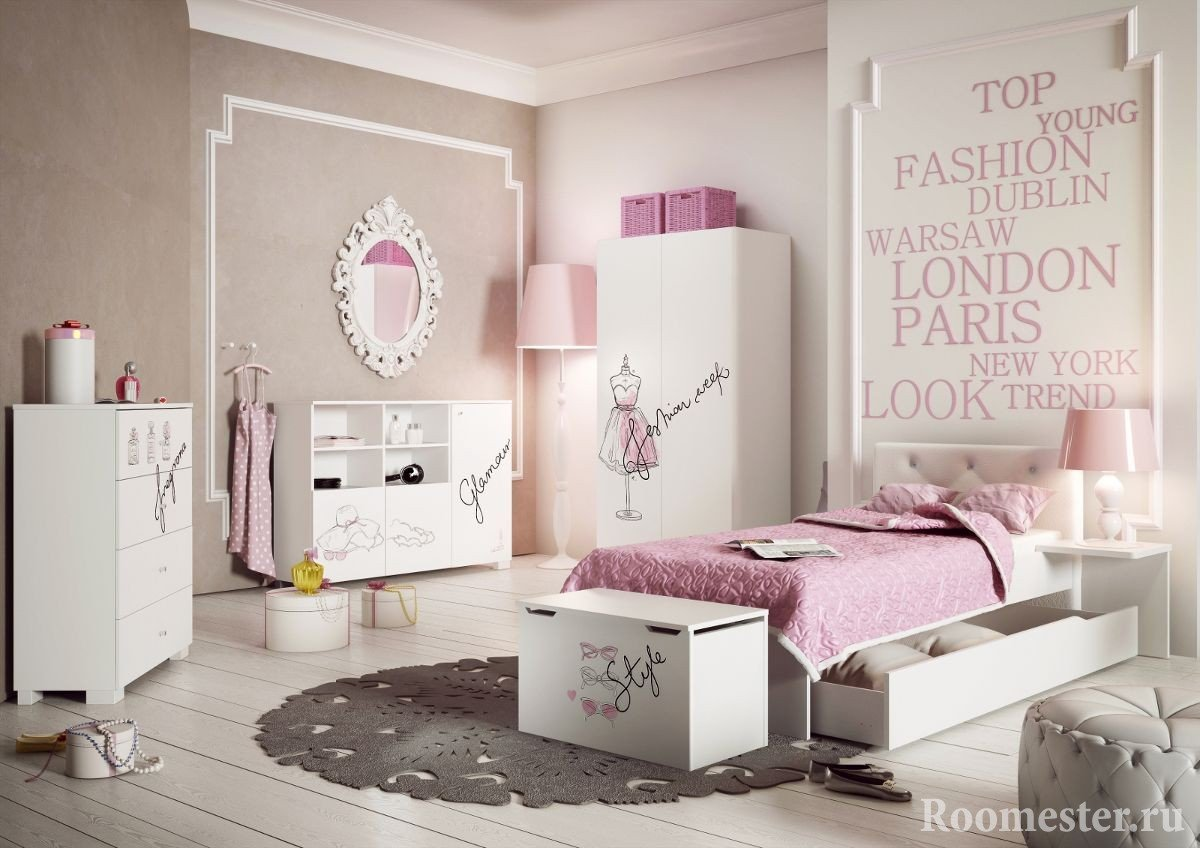 Современный дизайн комнаты девочки подростка