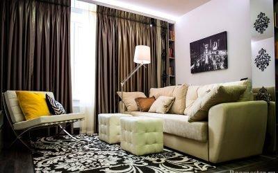 Дизайн гостиной 17 кв м — фото интерьера