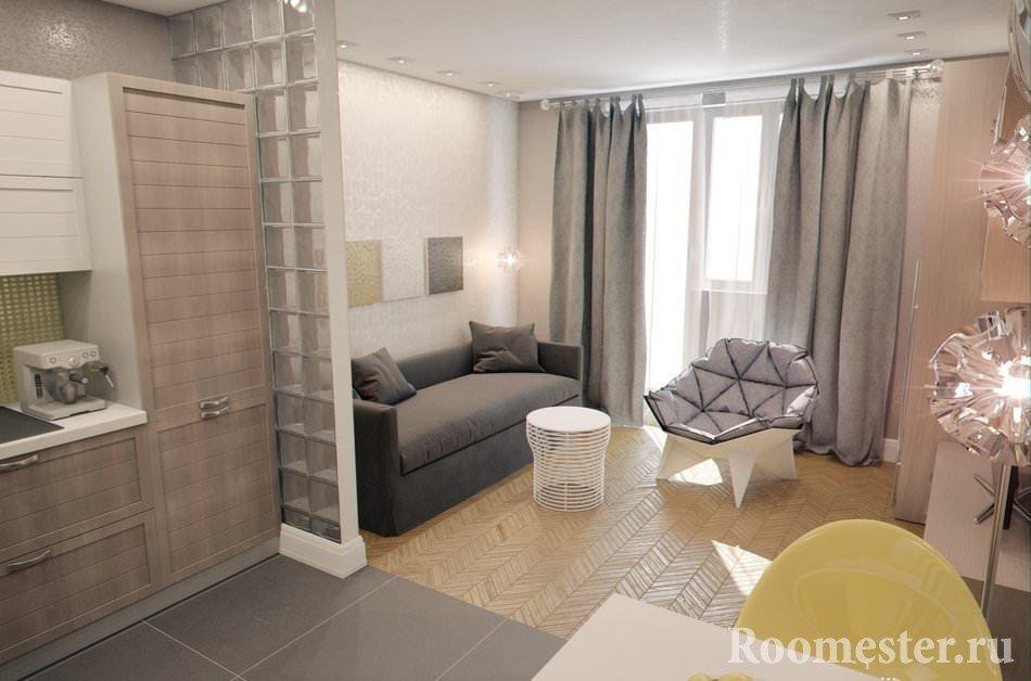 Проект комнаты совмещенной с кухней