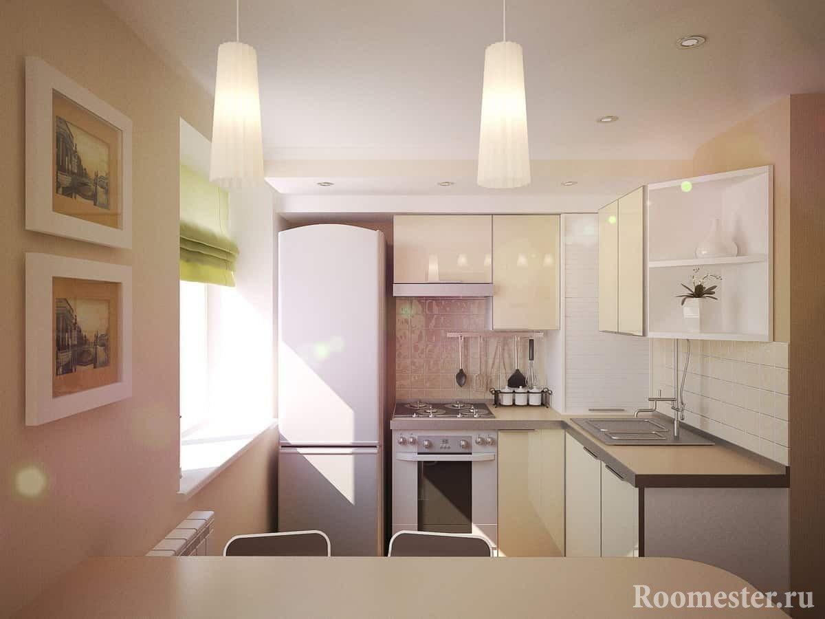 Кухня в хрущевке в светлых тонах