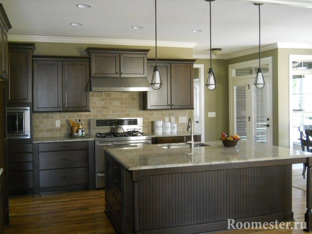 Черный и оливковый цвет в кухне