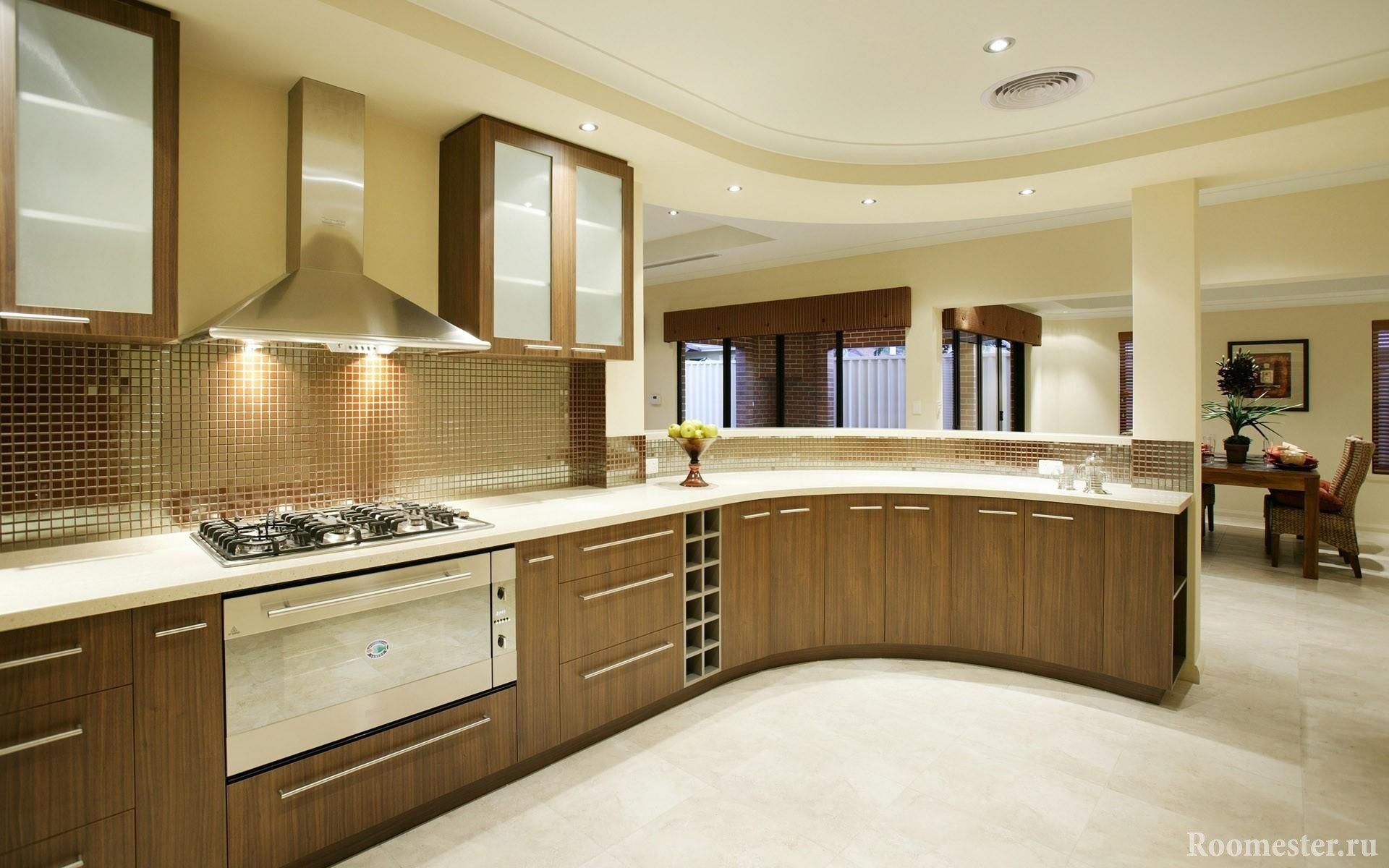 Кухня с закругленным углом