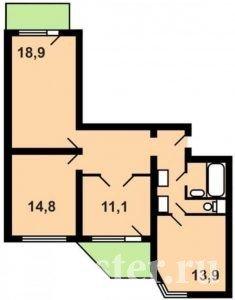Планировка 3-х комнатной квартиры п-44т