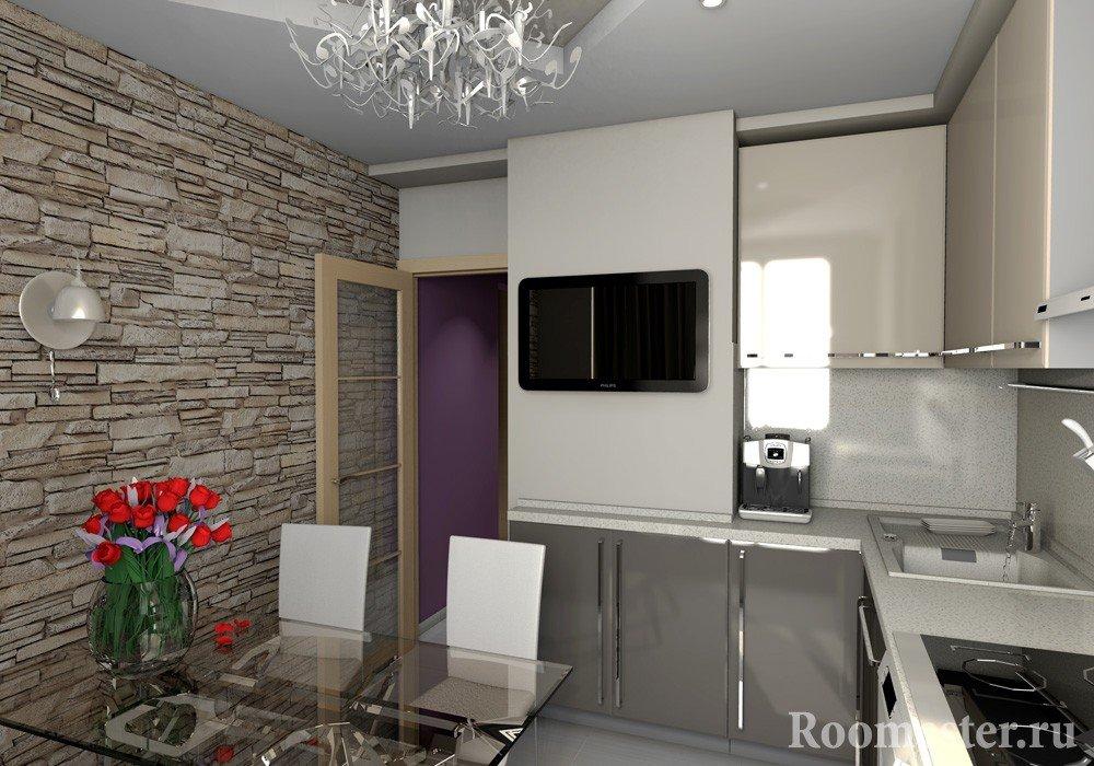 Кухня со стеной под камень