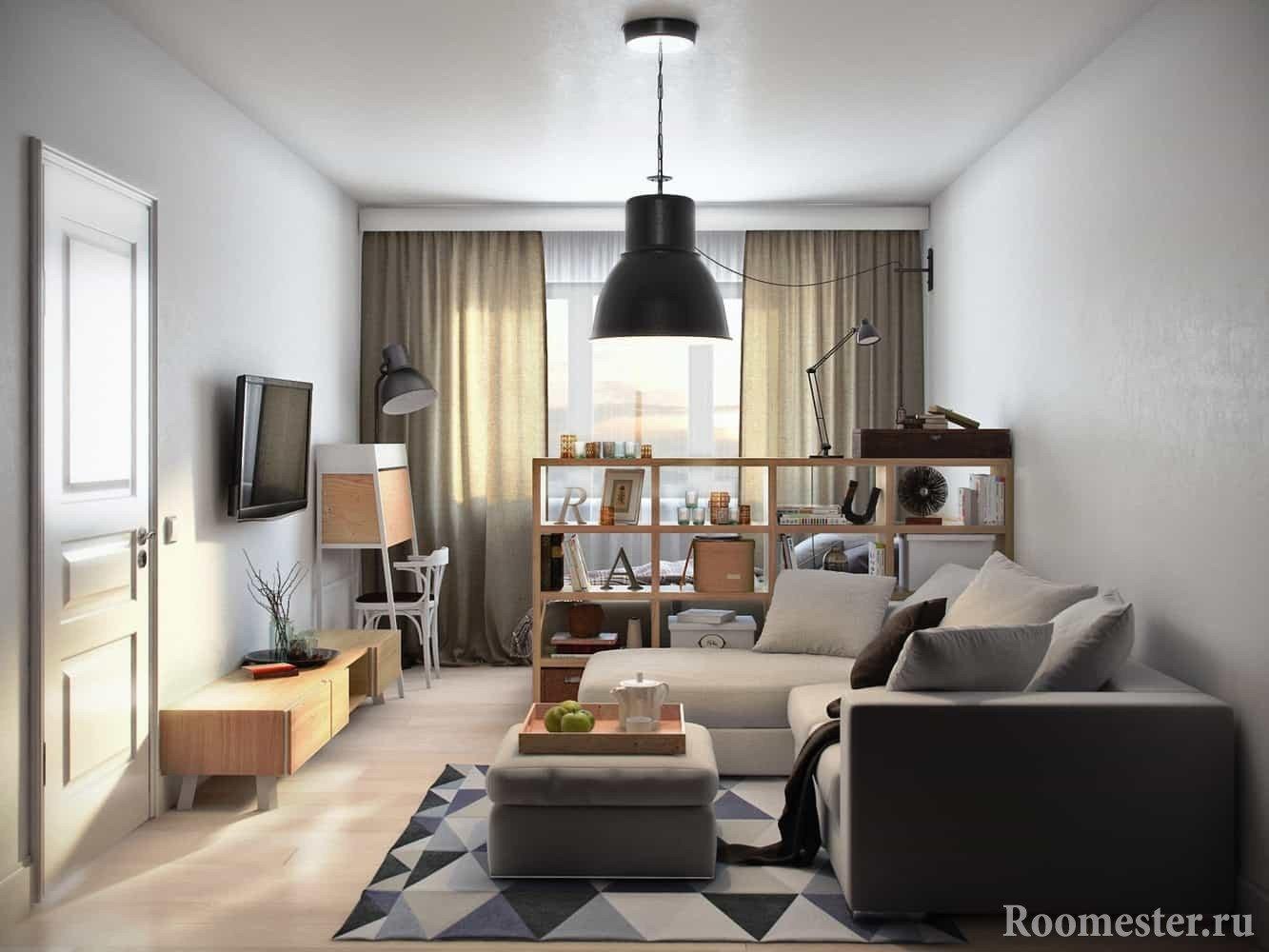 Гостиная и спальня в однокомнатной квартире