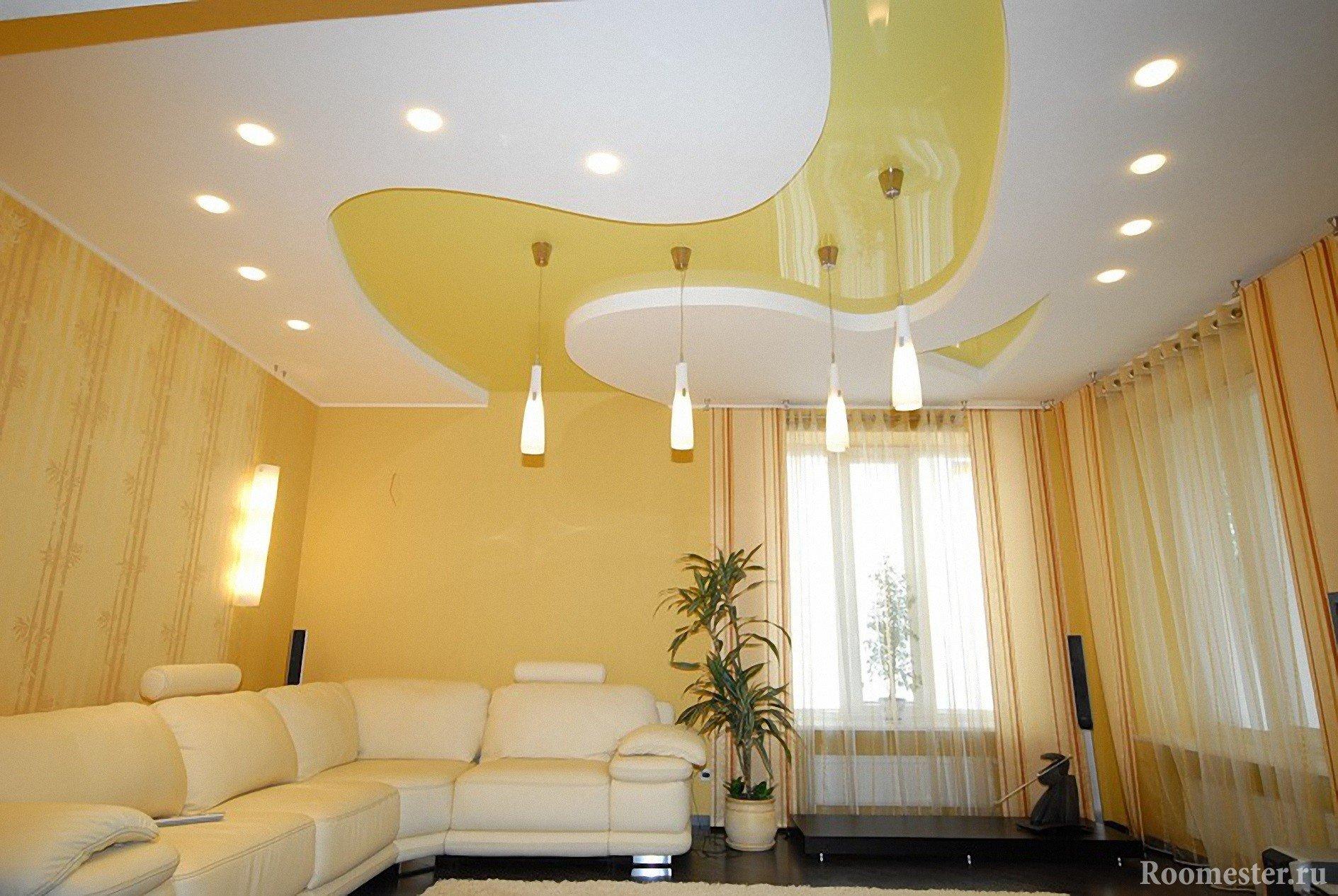 Фото дизайна потолков из гипсокартона и натяжной