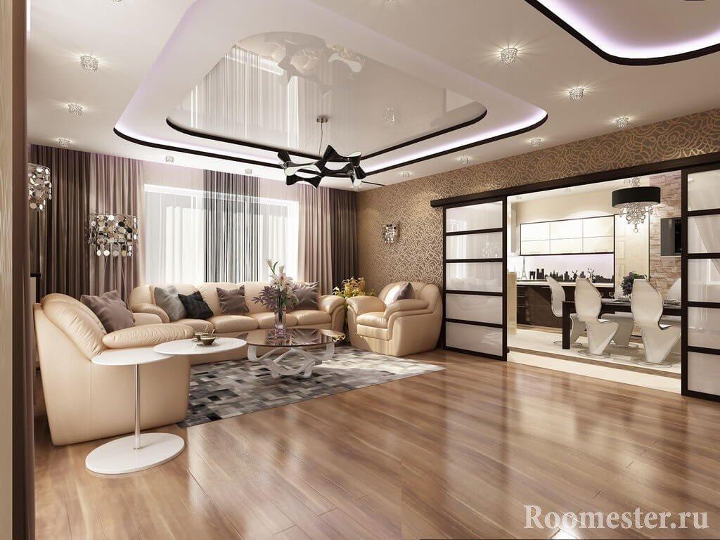 Натяжной потолок в комбинации с гипсокартонным