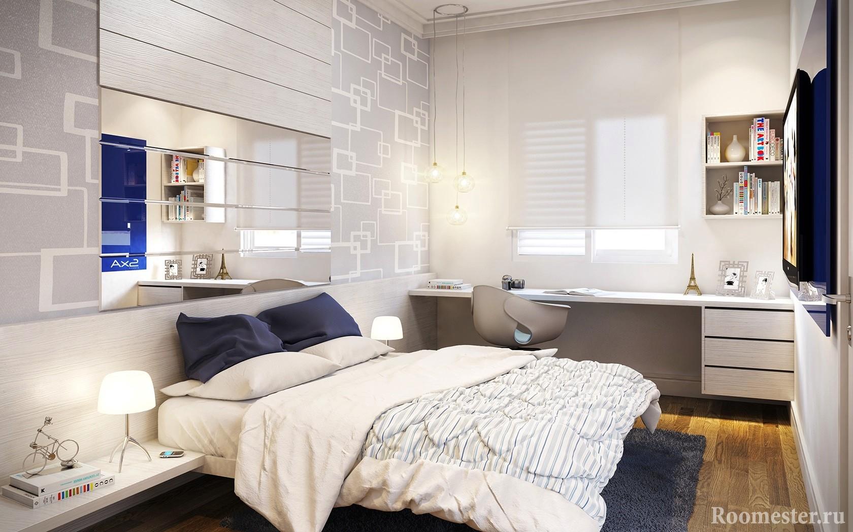 Зеркальное полотно над кроватью