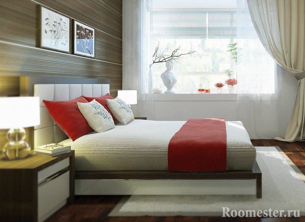 Декоративные панели в отделке стены в спальне