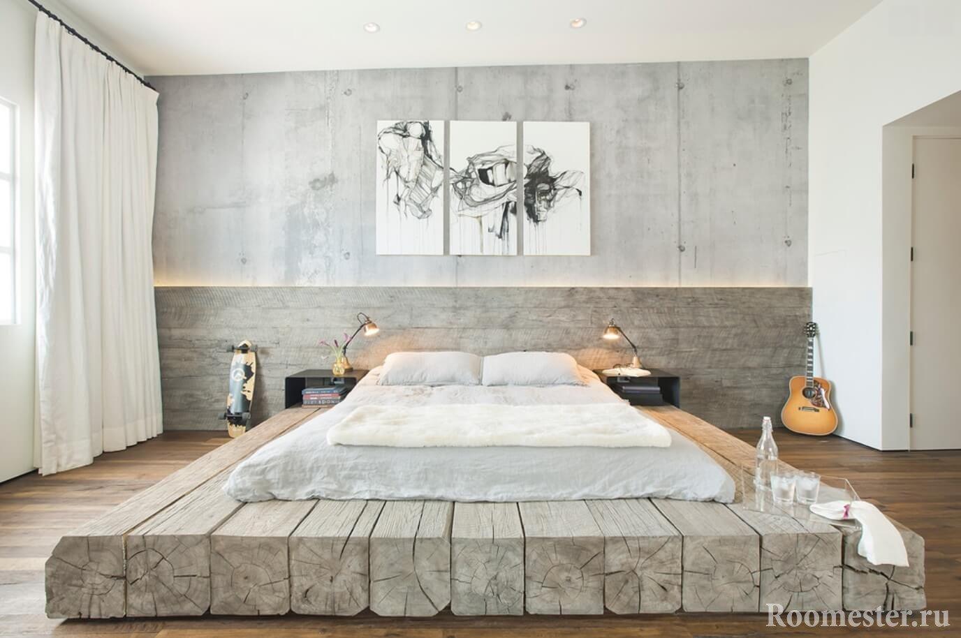 Дерево и бетон в спальной комнате