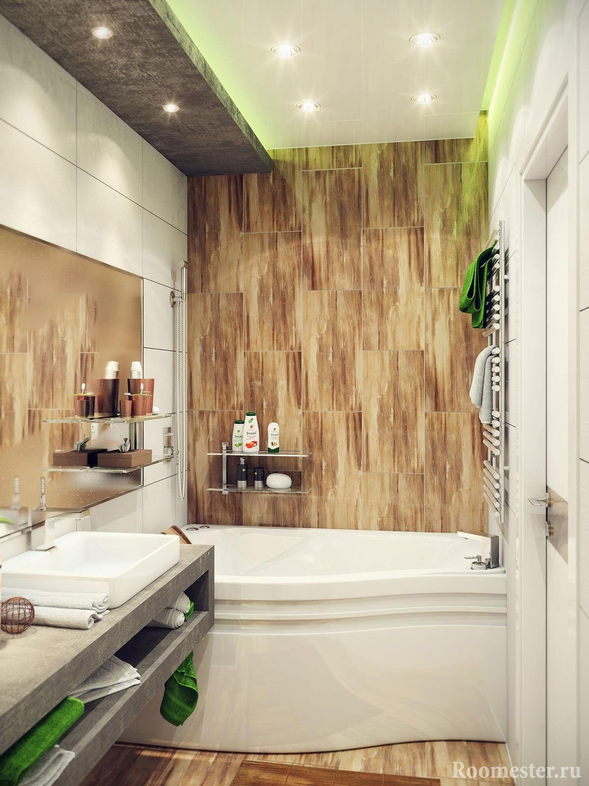 Зеленая светодиодная подсветка в ванной комнате