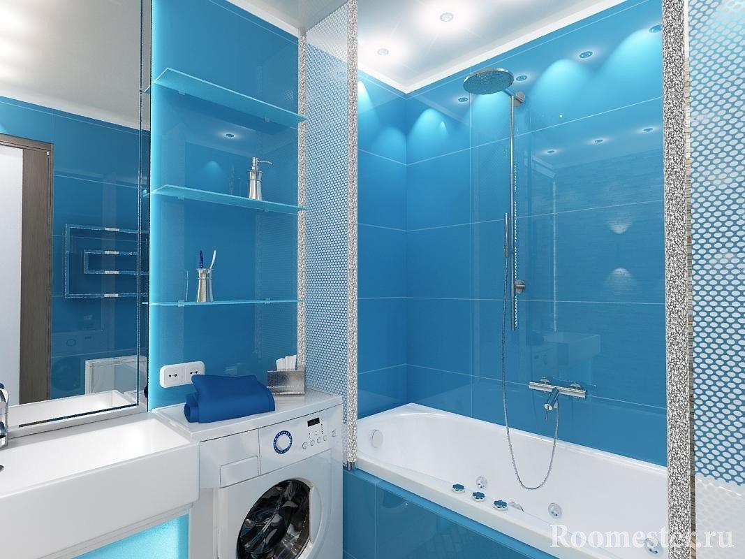 Ванная в голубом цвете
