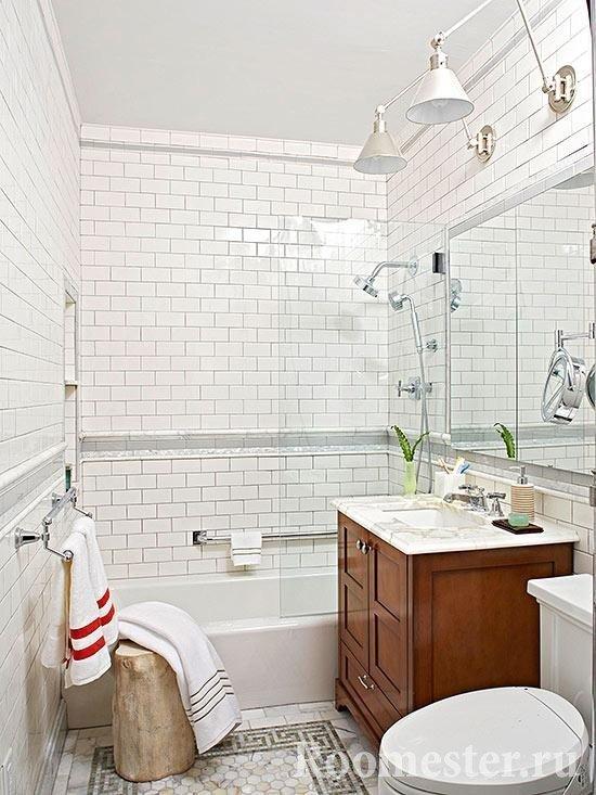 Маленькая ванная в эко стиле