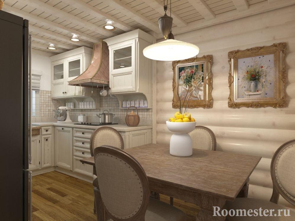 Дизайн кухни в доме из круглого бруса
