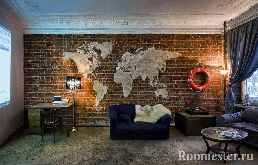 Карта мира на кирпичной кладке