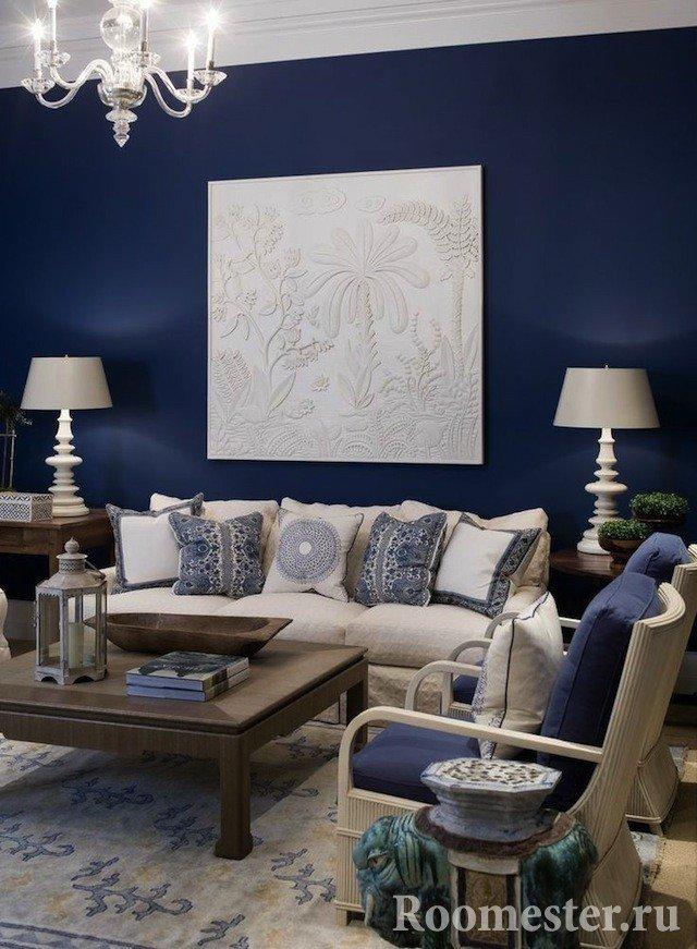 Синий цвет в интерьере - фото и примеры его сочетания