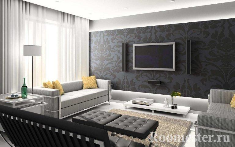 Интерьер гостиной с серым полом